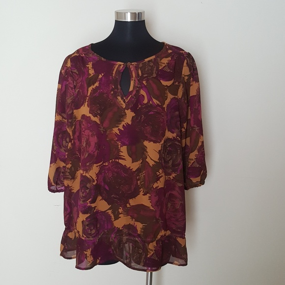 Just My Size Tops - Just My Size 2X (18W/20W) Sheer Blouse 3/4 Sleeve